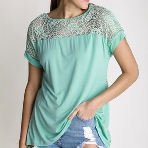 NWT front lace top with split back detail